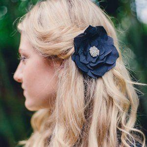 Black Silk Rose Flower Hair Clip Large